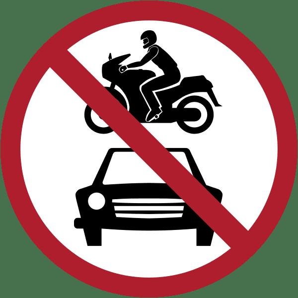 ป้ายห้ามรถจักรยานยนต์และรถยนต์