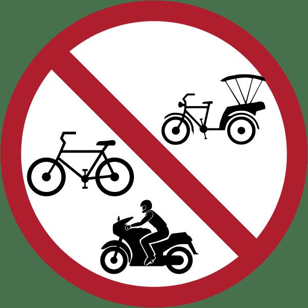 ป้ายห้ามรถจักรยานยนต์ รถจักรยาน และ รถจักรยานสามล้อ