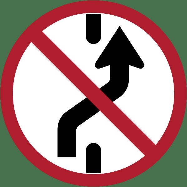 ป้ายจราจร ป้ายห้ามเปลี่ยนช่องเดินรถไปทางขวา