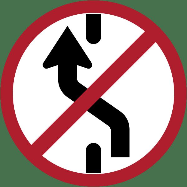 ป้ายจราจร ป้ายห้ามเปลี่ยนช่องเดินรถไปทางซ้าย