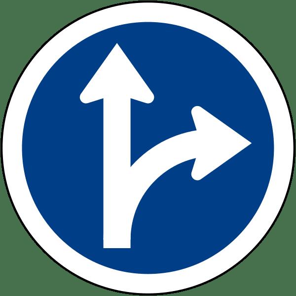 ป้ายให้ตรงไปหรือเลี้ยวขวา