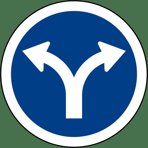ป้ายให้เลี้ยวซ้ายหรือเลี้ยวขวา